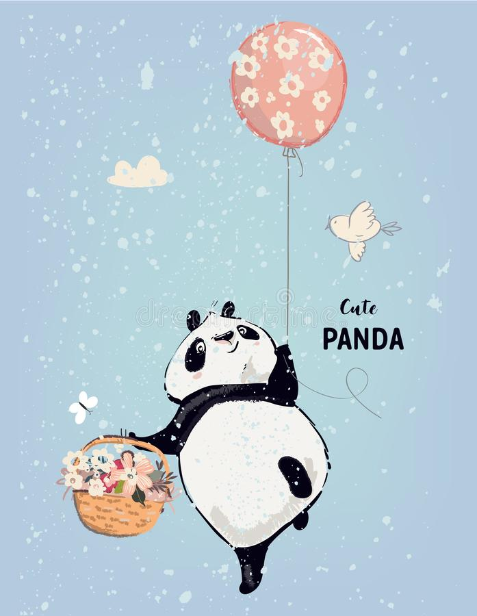 Little panda with balloon. Little panda fly with balloon vector illustration