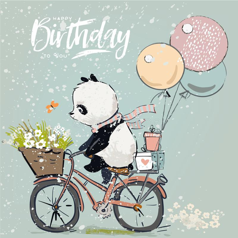 Little panda on bike stock illustration