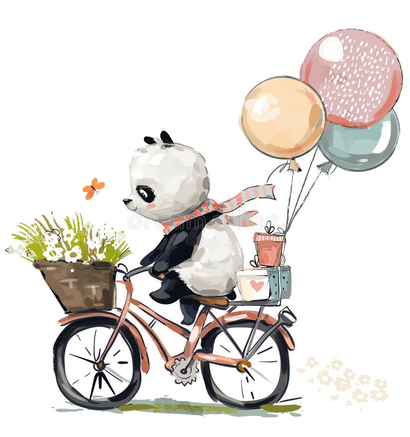 Little panda on bike. Little birthday panda on bike stock illustration