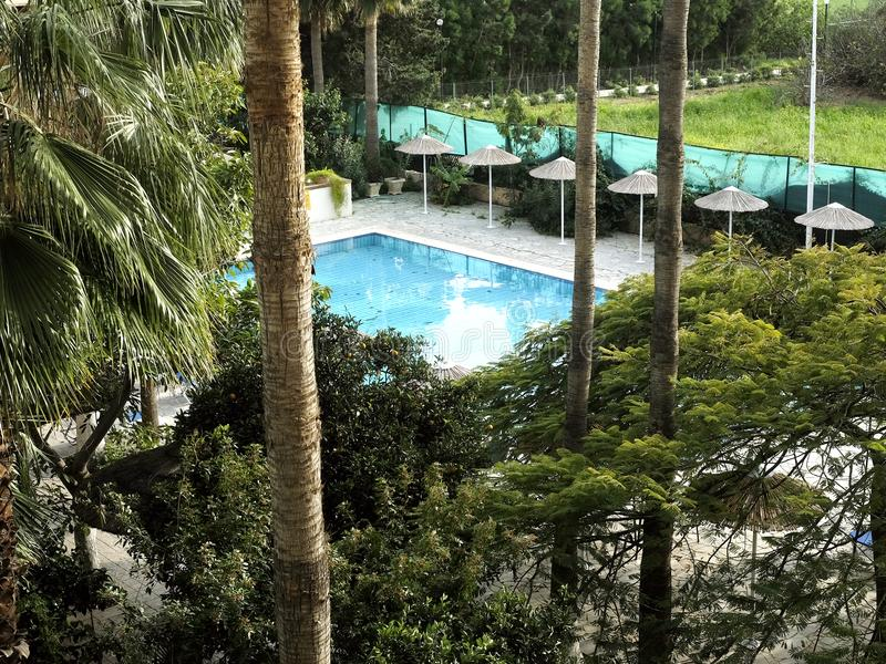 A little paradise. Top view of the courtyard garden of the resort hotel with a small pool surrounded by tropical plants royalty free stock photos