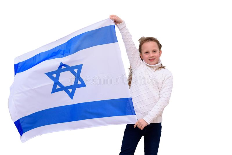 Little patriot jewish girl with flag Israel isolated on white background. stock photography