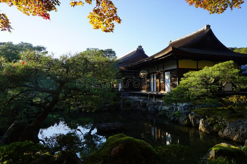 The little pavilion near Gingakuji Temple at Kyoto royalty free stock photography