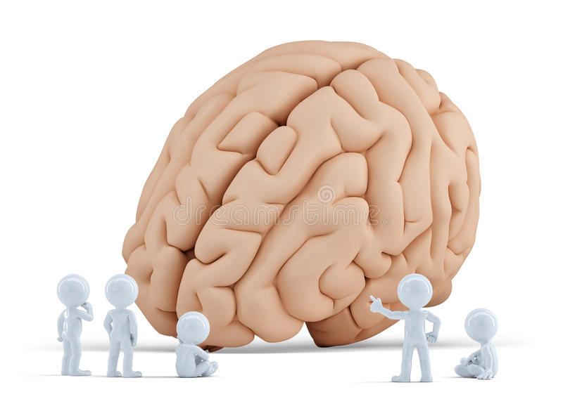 Little people around giant brain. Isolated. Contains clipping path vector illustration