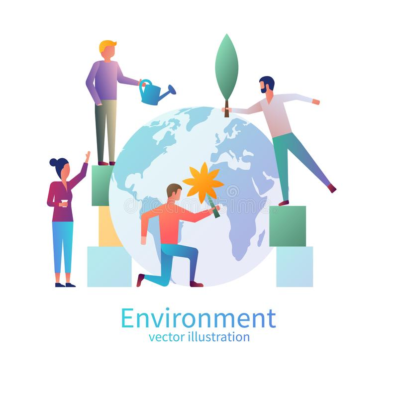 Little people care for the environment vector illustration