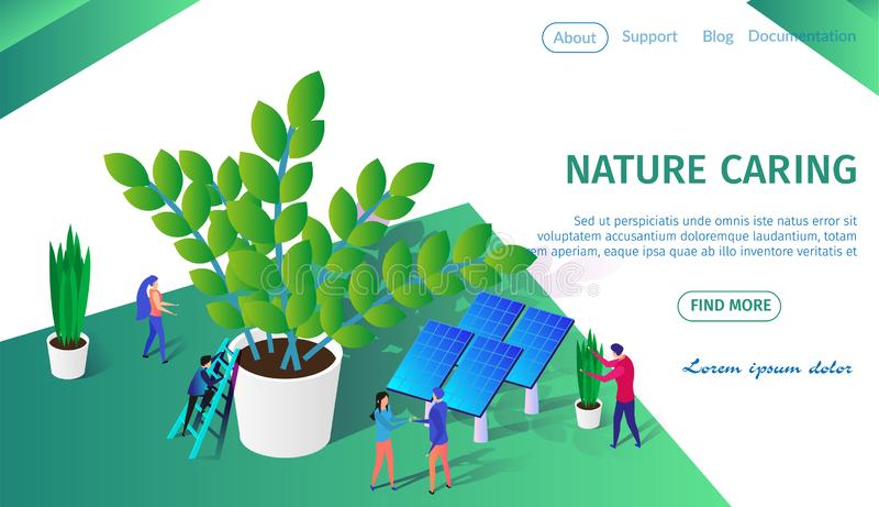 Little People Working Together Caring of Plants. Nature Caring Horizontal Banner with Copy Space. Little People Working Together Caring of Plants. Man Climbing vector illustration