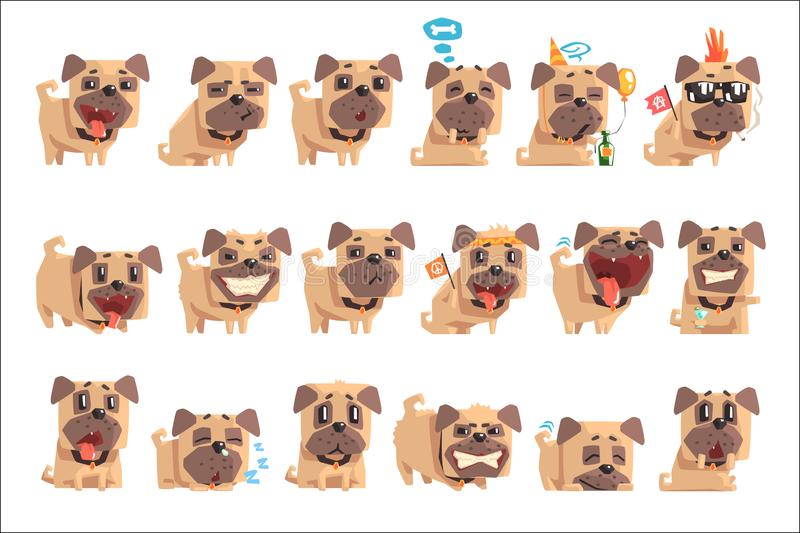 Little Pet Pug Dog Puppy With Collar Set Of Emoji Facial Expressions And Activities Cartoon Illustrations. Cute Small Animal Emoticons In Stylized Geometric vector illustration