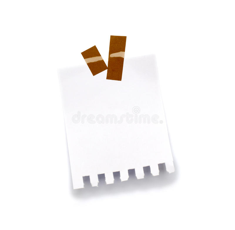Little piece of paper held by an adhesive royalty free stock image