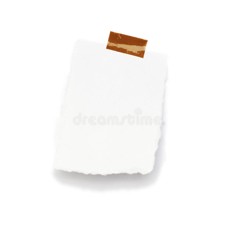 Little piece of paper held by an adhesive stock photo