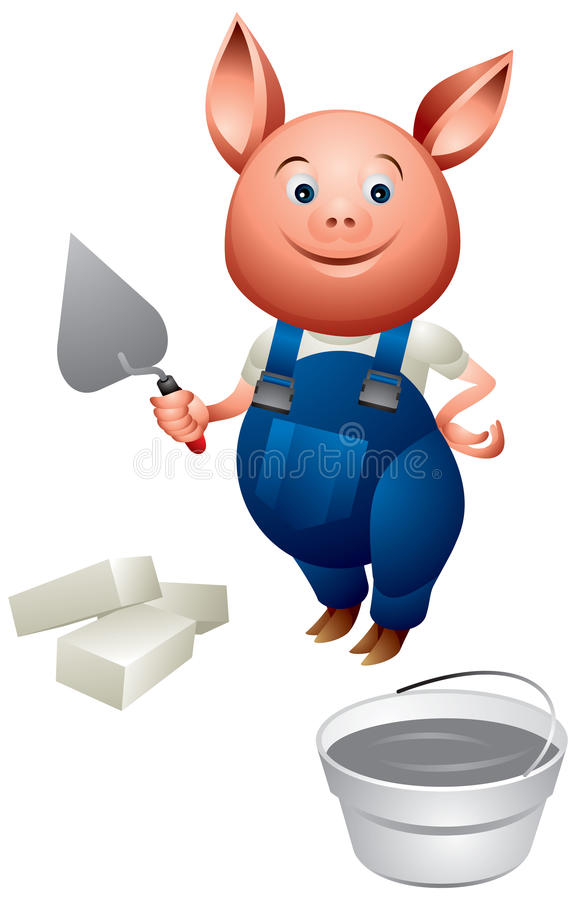 Little Pig as bricklayer in the builder uniform vector illustration