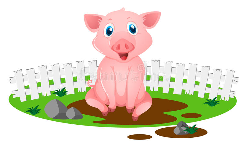 Little pig in muddy puddle vector illustration