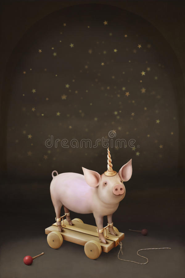 Download Little pig Unicorn. stock illustration. Image of tale - 22132364