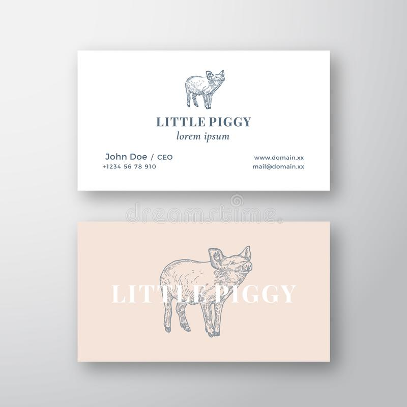 Little Piggy Abstract Feminine Vector Sign or Logo and Business Card Template. Premium Stationary Realistic Mock Up stock illustration