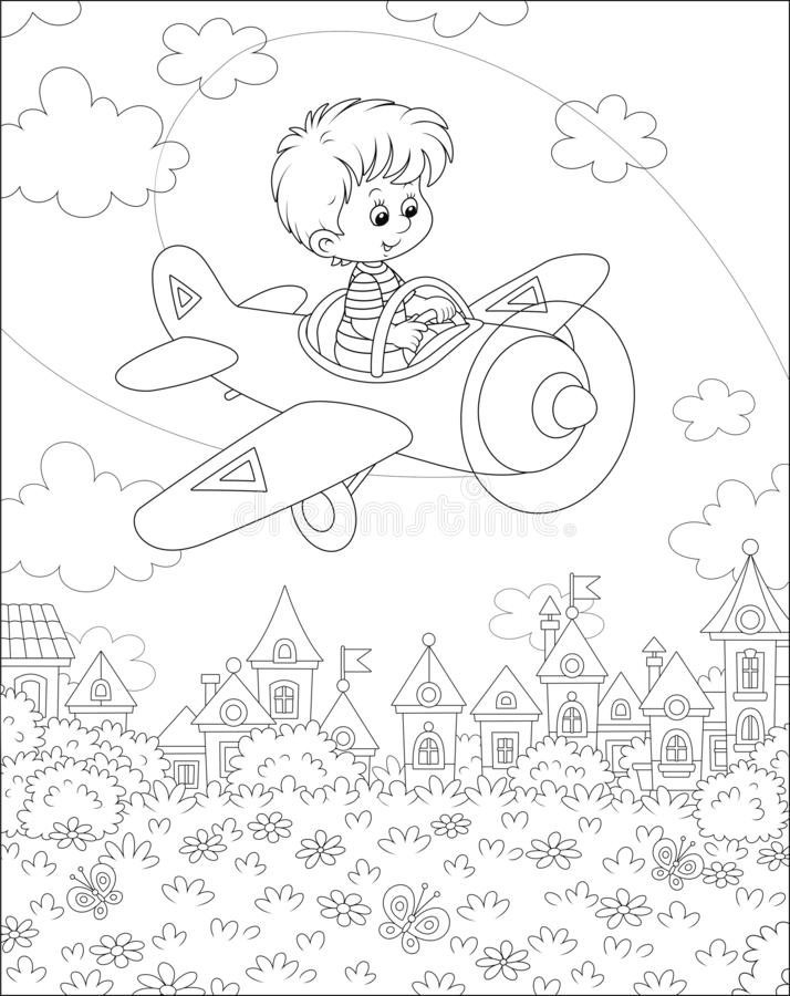 Little pilot in his plane over a town. Happily smiling boy piloting his small toy airplane among clouds in summer sky over a park near cute houses on a sunny day vector illustration
