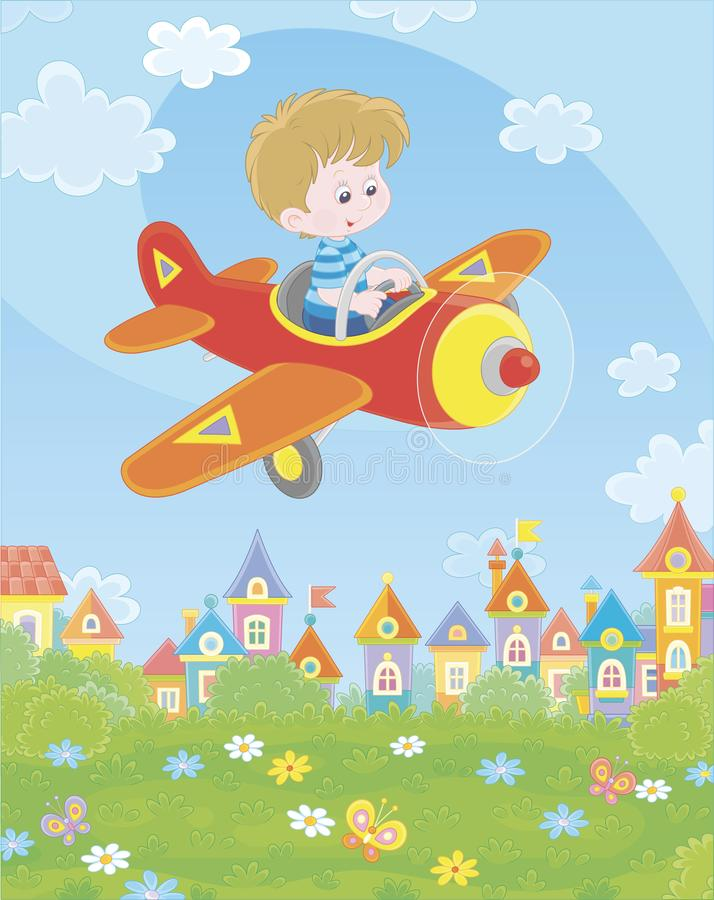 Little pilot in his plane over a town. Happily smiling boy piloting his small toy airplane among white clouds in blue summer sky over a green park near cute stock illustration