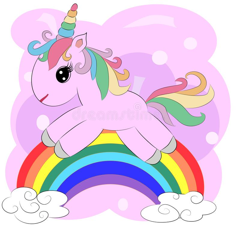 A little pink cute cartoon Unicorn on a clearing with a rainbow, flowers, sun. Postcard, spring, magic royalty free illustration