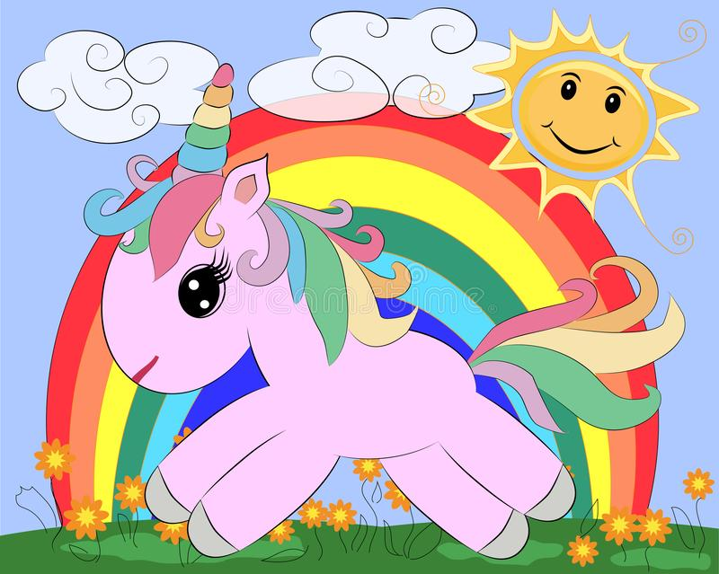 A little pink cute cartoon Unicorn on a clearing with a rainbow, flowers, sun vector illustration