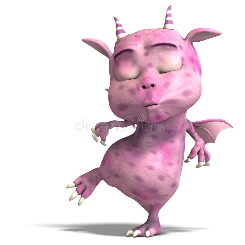 Little pink cute toon dragon devil stock photos