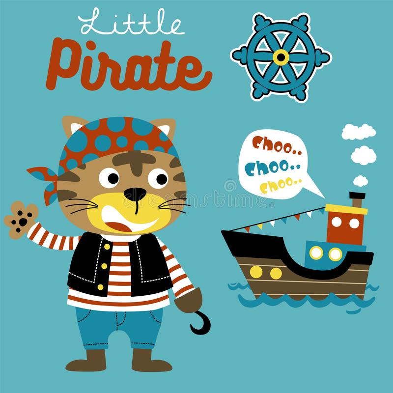 Little pirate cartoon with sailboat royalty free illustration