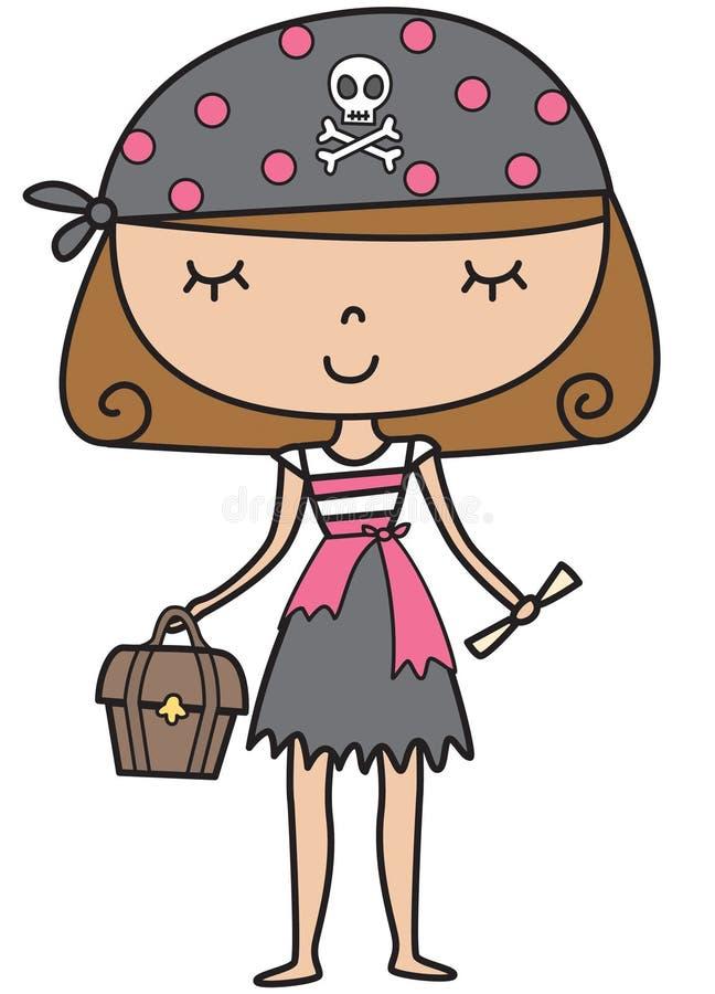 Little piratkopierar flickan vektor illustrationer