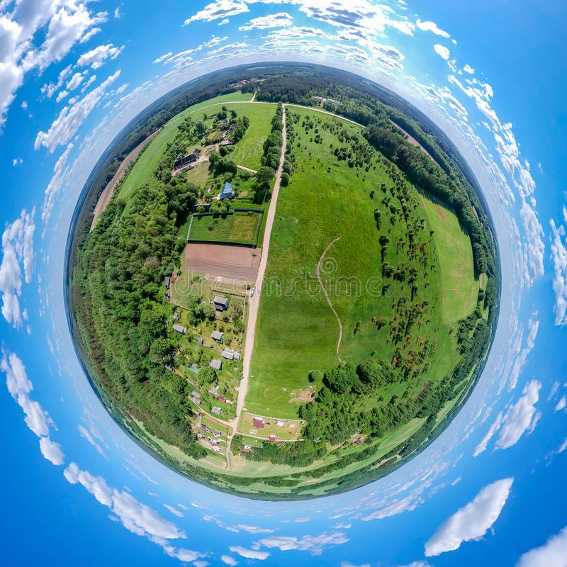 Little planet Belarussian countryside royalty free stock images