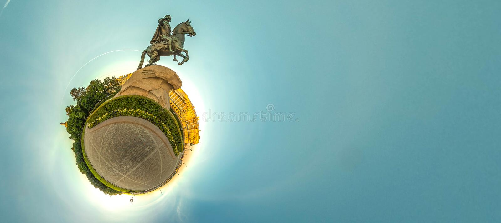 Little planet with bronze hourseman. Russia, St. Petersburg stock image