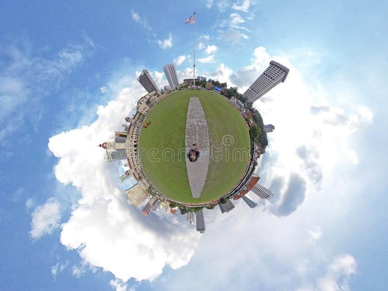 Little planet, Dataran Merdeka, Kuala Lumpur. The Sultan Abdul Samad Building is a late nineteenth century building located along Jalan Raja in front of the stock image
