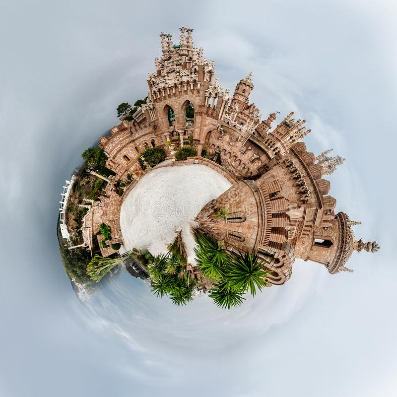 Little planet 360 degree sphere. Panorama of Colomares castle. royalty free illustration