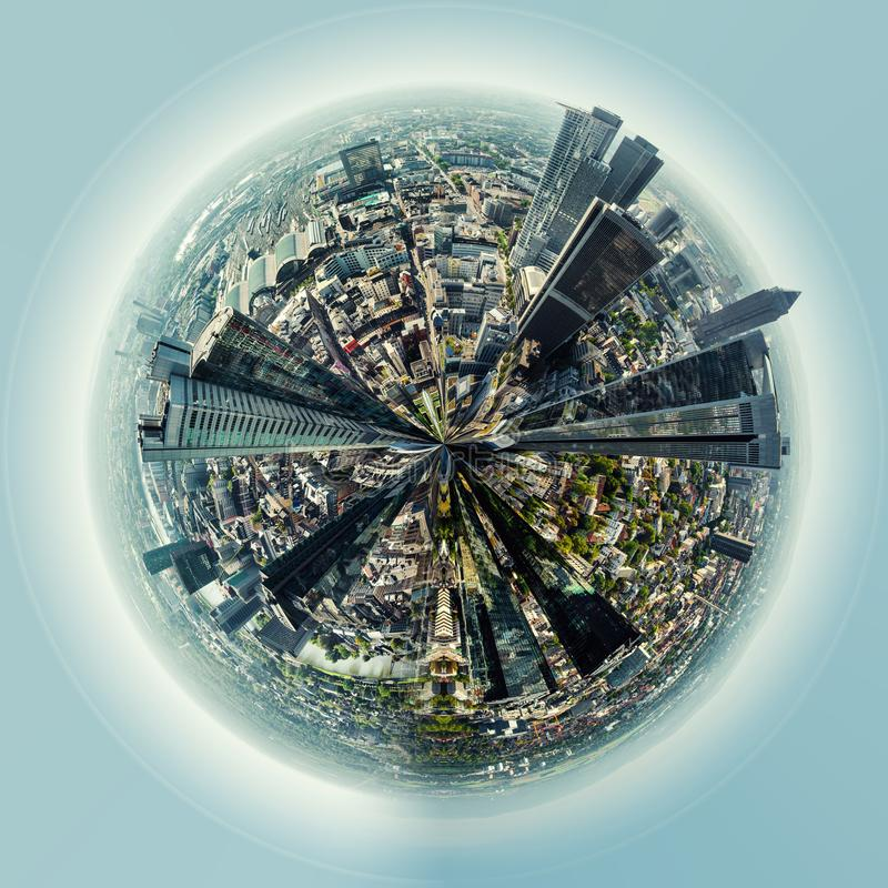 Little planet 360 degree sphere. Panoramic view of Frankfurt am Main city vector illustration