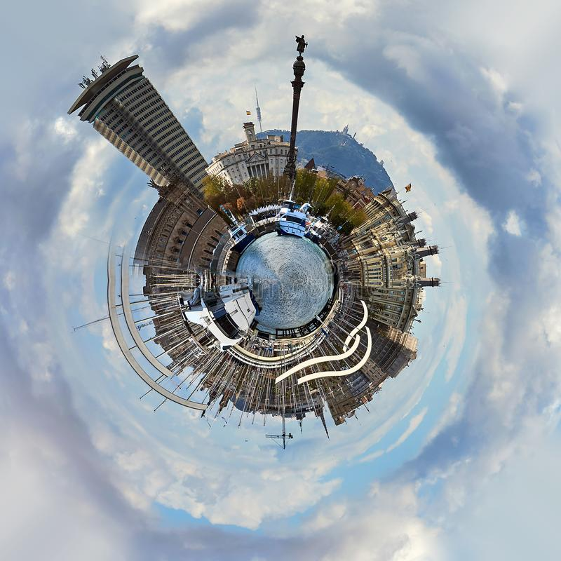 Little planet 360 degree sphere. Panoramic view of Rambla de Mar in Barcelona city royalty free illustration