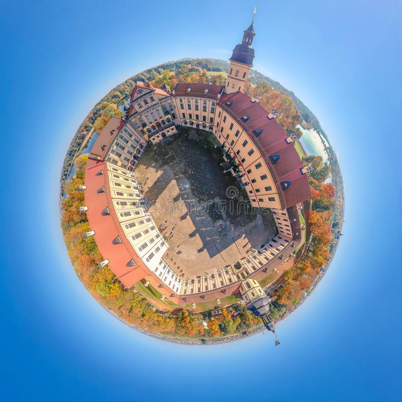 Little planet Nesvizh Castle in Belarus stock image