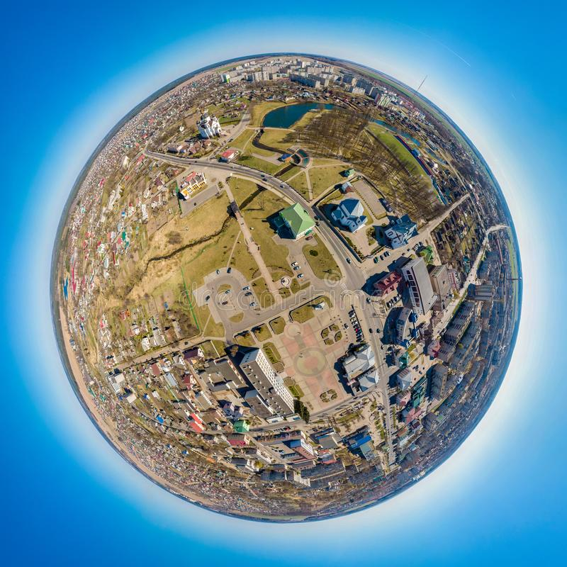 Little planet Smorgon, Belarus. Drone aerial panorama royalty free stock image