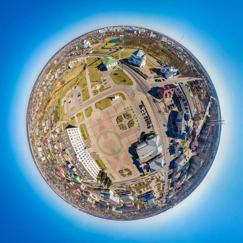 Little planet Smorgon, Belarus. Drone aerial panorama royalty free stock photography