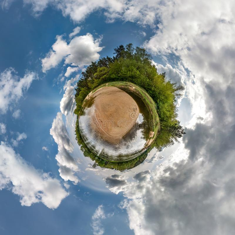 Little planet spherical panorama 360 degrees. Spherical aerial view in forest in nice day. Curvature of space stock illustration