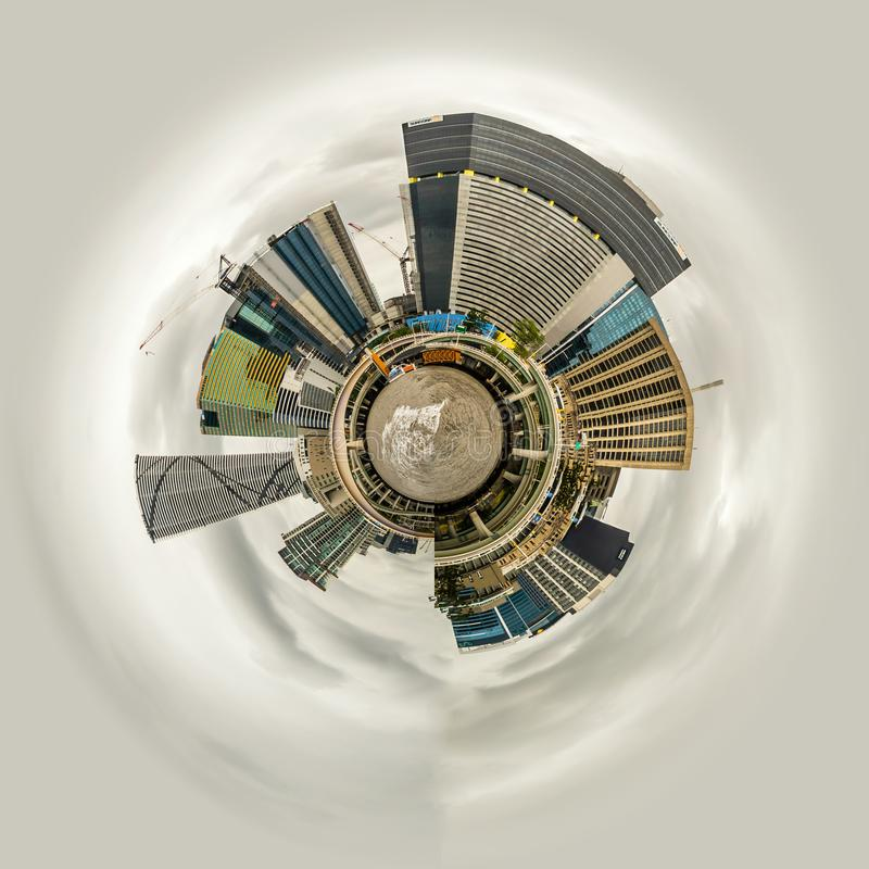 Little planet view of Brisbane skyline seen from a boat on the river royalty free stock photography