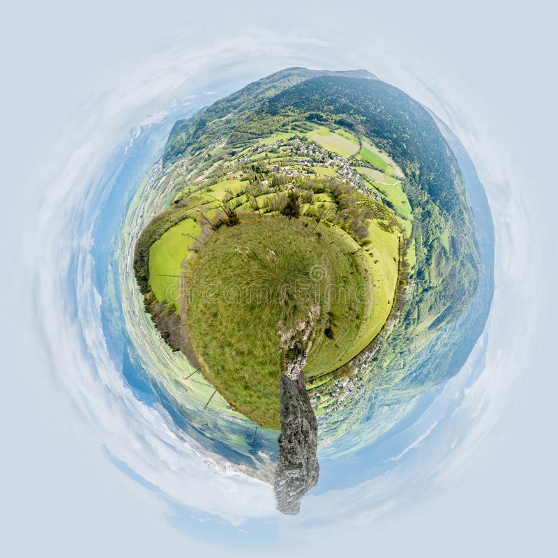 Little planet view of Panorama over Pierre-Chatel and its mountains in Isere in France royalty free stock photo