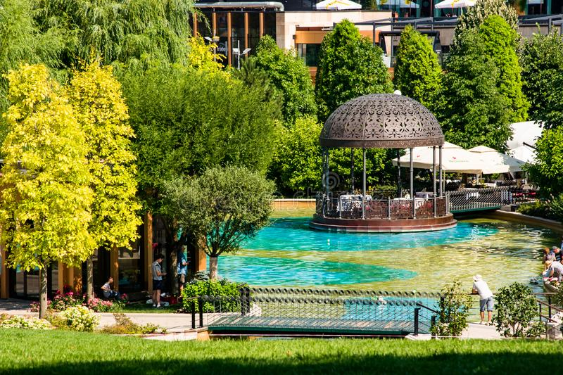 The little pond in Palas Park, Iasi, Romania. View of the pond in Palas Park on a warm summer day - Iasi, Romania stock photography