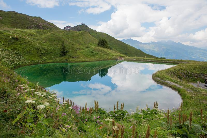 Little pond at Kleine Scheidegg tourist destination, mannlichen royalty free stock photos
