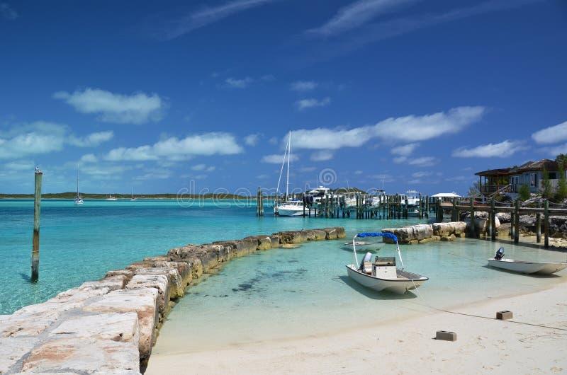 Little port at Exuma Cays. Bahamas stock image