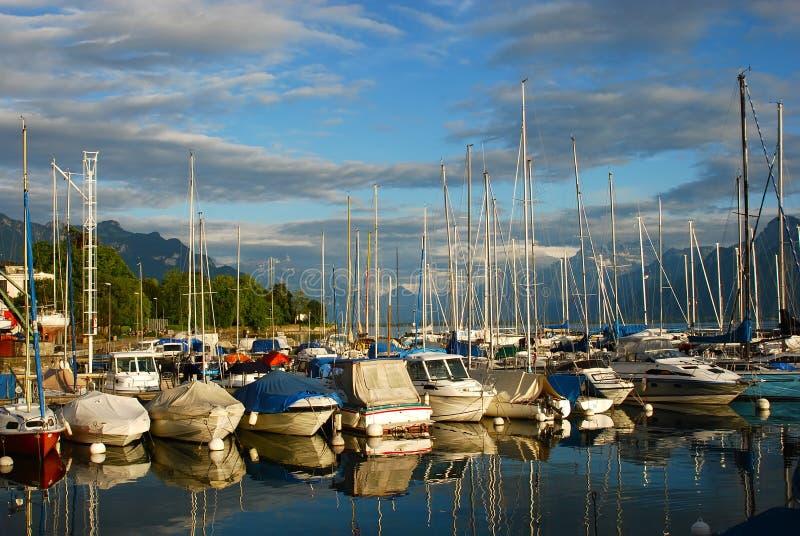 Little port at Geneva lake royalty free stock photo