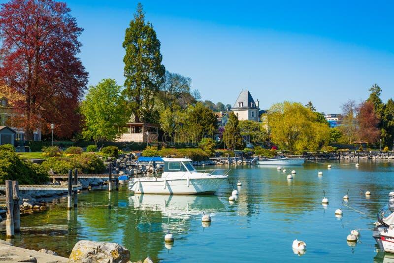 Little port on Geneva Lake in Lausanne city stock photography