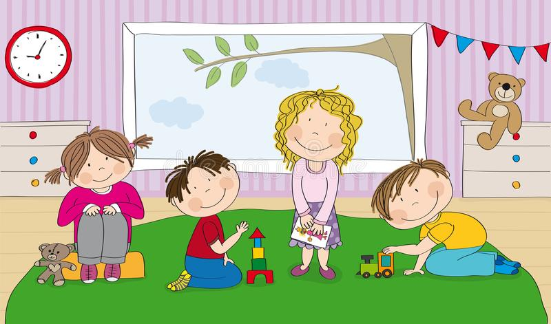 Little preschool children in kindergarten playing together stock illustration