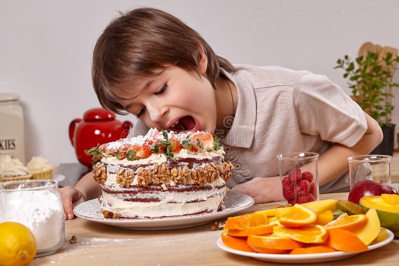 Little boy is making a homemade cake with an easy recipe at kitchen against a white wall with shelves on it. Little pretty boy with smeared in powdered sugar royalty free stock image