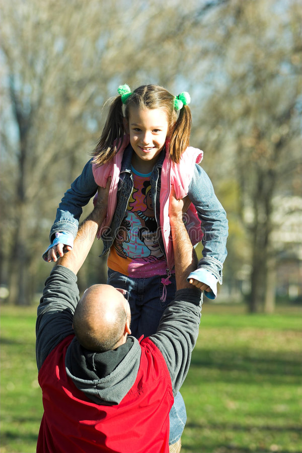Download Little Pretty Child Happy Running To Father Stock Image - Image of face, family: 1684843