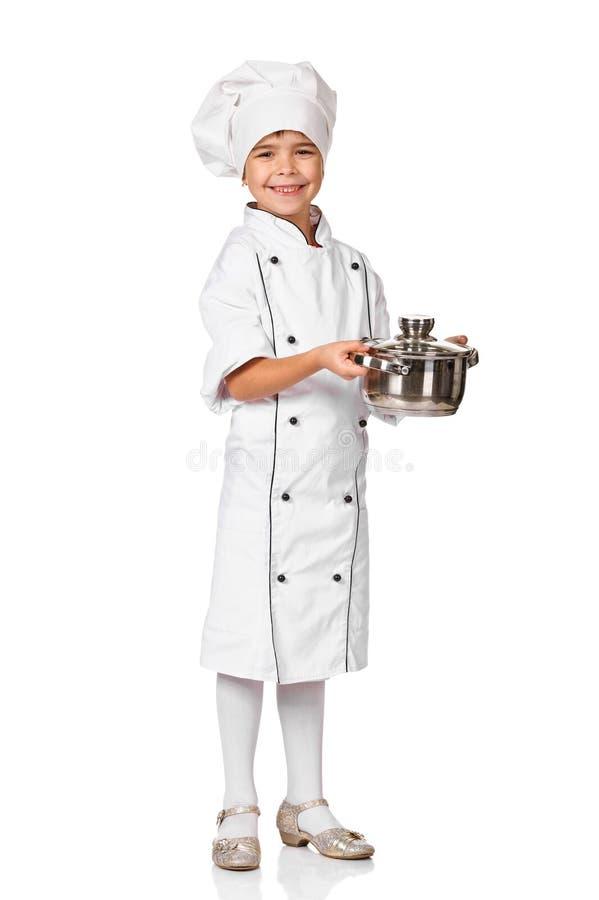 Little pretty girl chef holding a pot stock photos