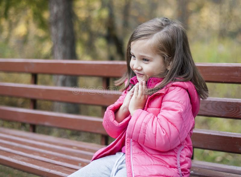 Little pretty girl in a pink coat sitting on a wood bench at the park in autumn. Emotional portrait. Childhood concept stock photos