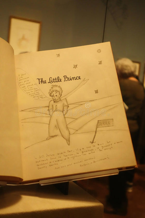 The Little Prince. A first-edition copy of The Little Prince, inscribed and given as a gift by its author, Antoine de Saint-Exupéry, to his friend Hélè stock photography