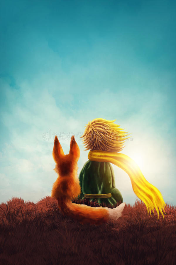 Little prince. And the fox stock illustration