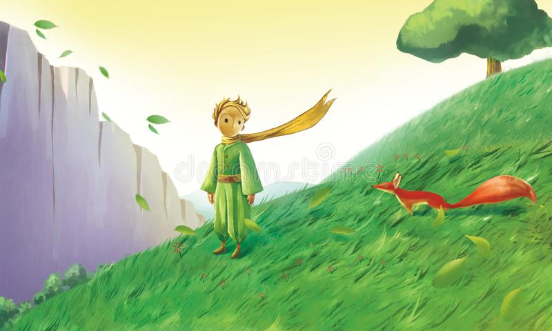 Little prince and little fox royalty free illustration
