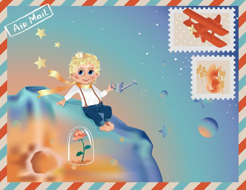 The Little Prince, boy cartoon on his planet sitting near rose. Greeting or baby shower vector illustration
