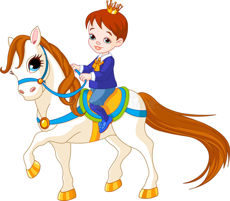 Little prince on horse. Cute little prince riding on a horse stock illustration